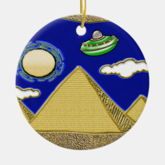 UFO über Ägypten Keramik Ornament
