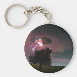 UFO über Starkstromleitungen 2 Keychain Standard Runder Schlüsselanhänger