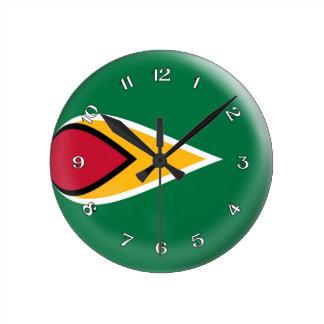 Uhr-Guyana-Flagge Blasen-Entwurf Runde Wanduhr