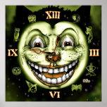Uhr Halloween der schwarzen Katzen-13 Poster