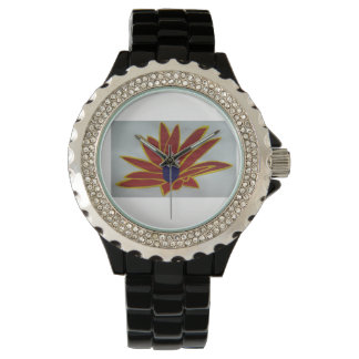 Uhr - kundenspezifisches Rhinestone-Schwarz-Email