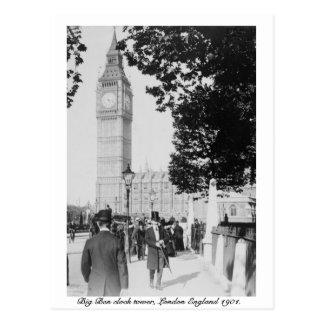 Uhr Londons Big Ben u. Haus von Parlament 1901 Postkarte