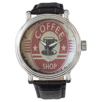 Uhr mit Kaffeestube unterzeichnen herein Rot und
