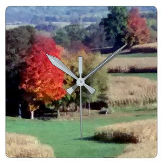 Uhr, quadratische Wand, Wisconsin-Landschafts-Fall Quadratische Wanduhr