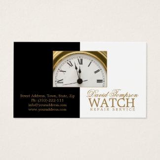Uhr-Reparatur-Service-Uhrmacher-schwarze u. weiße Visitenkarte