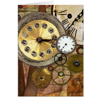 Uhren rostige alte Steampunk Kunst Grußkarte