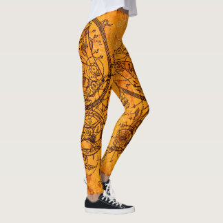 Uhrwerk-Collage Leggings