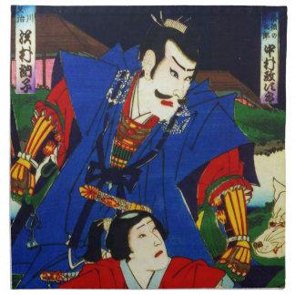 Ukiyo-e alte japanische Malerei eines Samurais Stoff Servietten