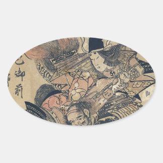 Ukiyo-e alte japanische Malerei von zwei Samurais Ovale Aufkleber