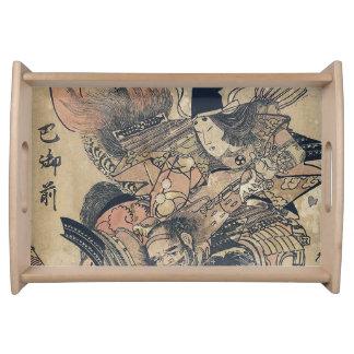 Ukiyo-e alte japanische Malerei von zwei Samurais Serviertablett
