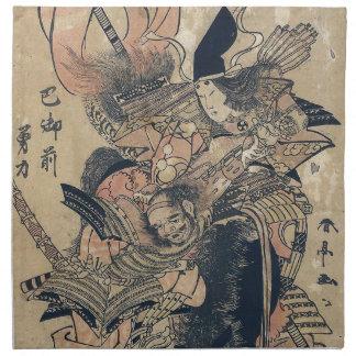 Ukiyo-e alte japanische Malerei von zwei Samurais Stoff Serviette