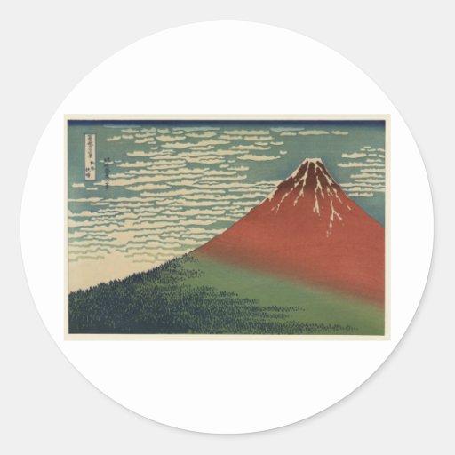 Ukiyo-e Hokusai Fujiyama Runder Sticker