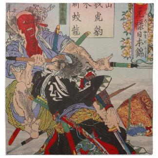 Ukiyo-e japanische Malerei eines SamuraisFighting Bedruckte Servietten