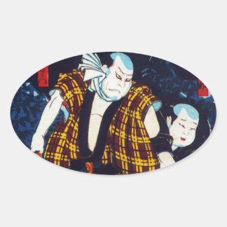 Ukiyo-e japanische Malerei von zwei Kabuki Ovale Aufkleber