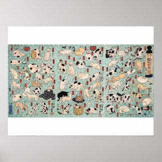 Ukiyo-e Katzen durch Utagawa Kuniyoshi (1798-1861) Poster