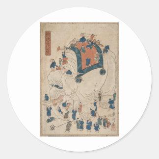 Ukiyo-e Kinder und ein Elefant Runde Sticker