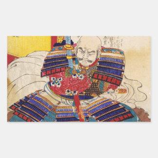 Ukiyo-e Malerei einer Samurai-tragenden Rüstung Rechteckige Sticker