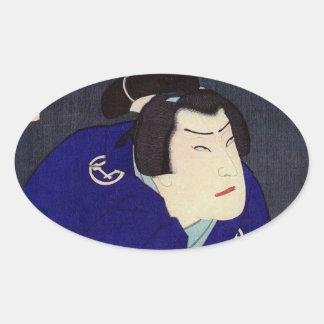 Ukiyo-e Malerei eines Samurais, der blauen Kimono Ovaler Aufkleber
