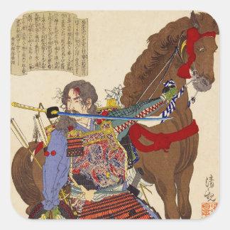 Ukiyo-e Malerei eines Samurais, der eine Klinge Quadrat-Aufkleber