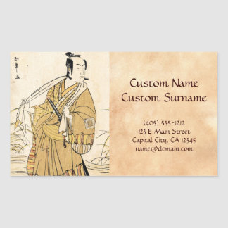 ukiyo-e podluzne 2 rechteckiger aufkleber