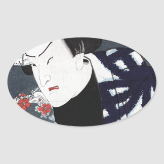 ukiyo-e Samurais Ovaler Aufkleber