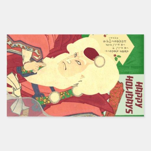 Ukiyo-e Weihnachtsmann Rechtecksticker