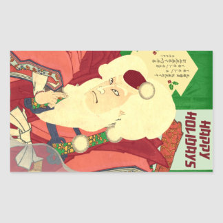Ukiyo-e Weihnachtsmann Rechteckiger Aufkleber