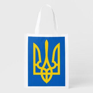 Ukraine Trident im Gelb auf Blau Einkaufsbeutel