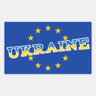 Ukraine- und Europäer-Gewerkschaftsflaggenentwurf Rechteckiger Aufkleber