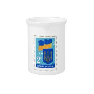 Ukrainische Flagge und Trident/Tryzub Getränke Pitcher