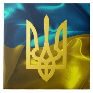 Ukrainische Flagge und Tryzub Keramikfliese