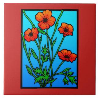 Ukrainische rote Mohnblumen mit Blumen Keramikfliese