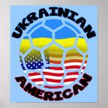 Ukrainischer amerikanischer Fußball-Plakat-Fußball