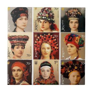 Ukrainischer Kopfschmuck Fliese