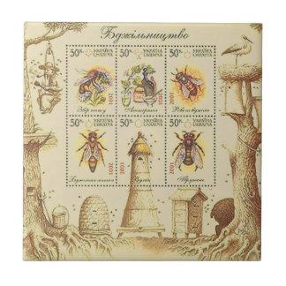 Ukrainisches Imkerei-Briefmarken-Blatt Fliese