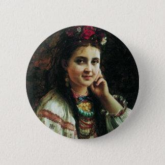 Ukrainisches Mädchen Constantin Makovsky Runder Button 5,1 Cm