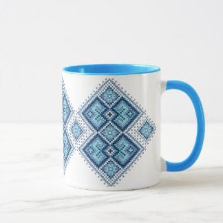 Ukrainisches Stickereiblau vyshyvanka Tasse