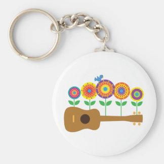 Ukulele-Blumen Standard Runder Schlüsselanhänger