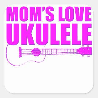 ukulele der Mutter Tages Quadratischer Aufkleber