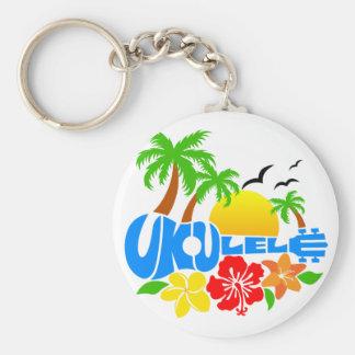 Ukulele-Insel-Logo Schlüsselanhänger