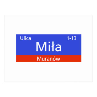 Ulica Mila, Warschau, polnischer Straßenschild Postkarte