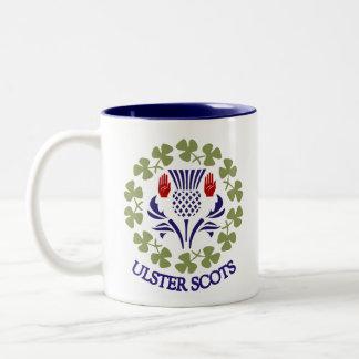 Ulster-Schotten Distel u. Kleeblatt-Tasse Zweifarbige Tasse