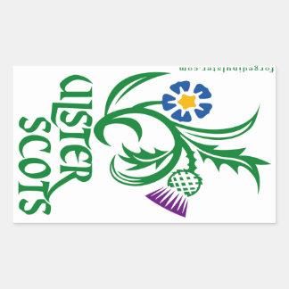 Ulster-Schotten Flachs u. Distelentwurf Rechteckiger Aufkleber