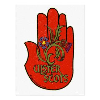 Ulster-Schotten roter Handentwurf Postkarte