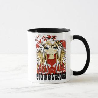 Ultra niedliche Anime-Mädchen-Liebe Sie zu den Tasse