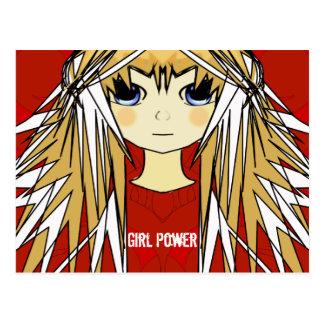 Ultra niedlicher Anime-blonder langer Postkarte