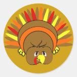 Ultra niedlicher Cartoon #Thanksgiving #Turkey Runder Aufkleber