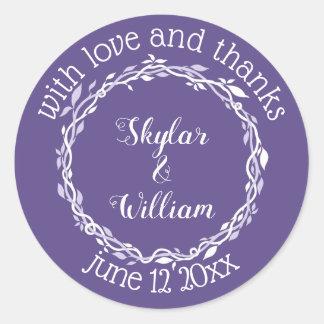 Ultraviolette Hochzeits-einfache Liebe und Dank Runder Aufkleber