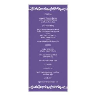 Ultraviolette Hochzeits-einfaches Empfangs-Menü Werbekarte