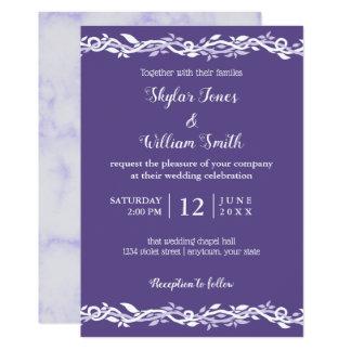 Ultraviolette Hochzeits-einfaches Lila und weiß Karte